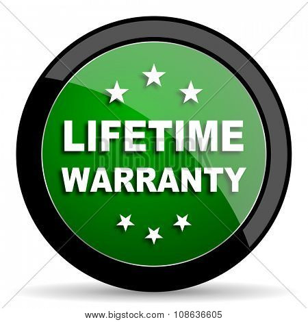 lifetime warranty green web glossy circle icon on white background