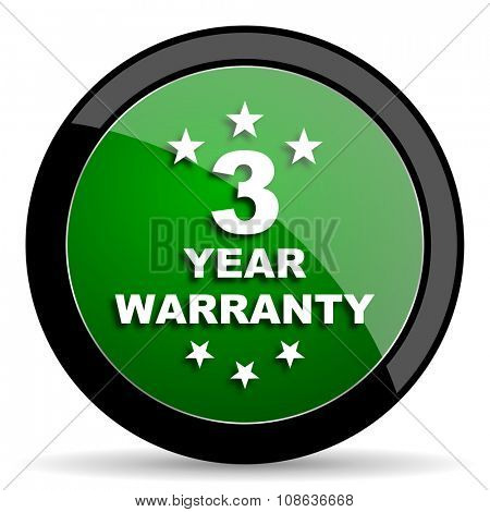 warranty guarantee 3 year green web glossy circle icon on white background
