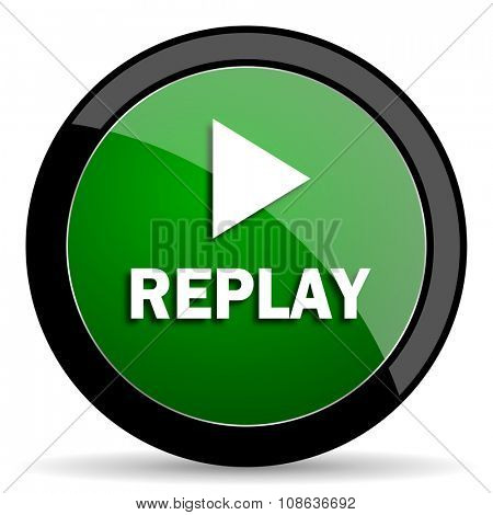 replay green web glossy circle icon on white background