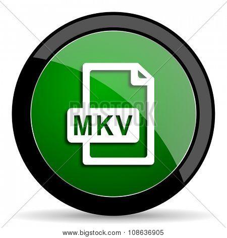 mkv file green web glossy circle icon on white background