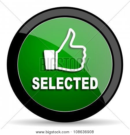 selected green web glossy circle icon on white background