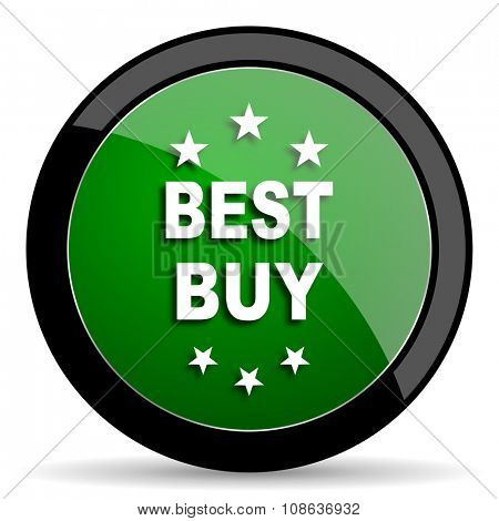 best buy green web glossy circle icon on white background
