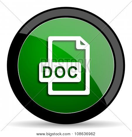 doc file green web glossy circle icon on white background