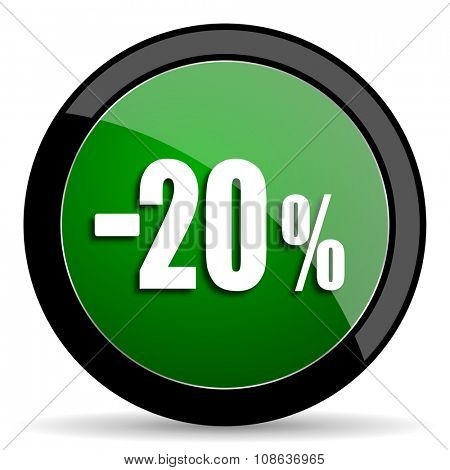 20 percent sale retail green web glossy circle icon on white background