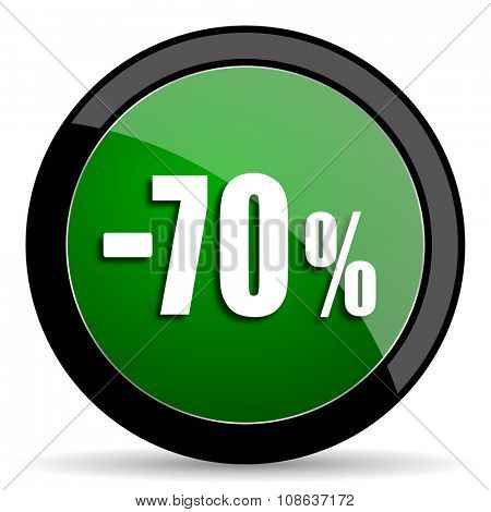 70 percent sale retail green web glossy circle icon on white background