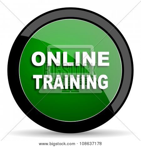 online training green web glossy circle icon on white background