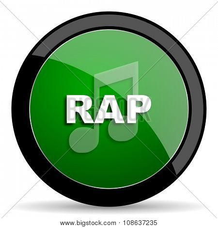 rap music green web glossy circle icon on white background