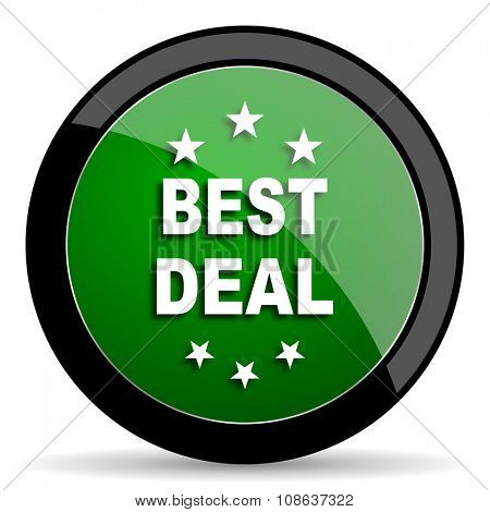 best deal green web glossy circle icon on white background