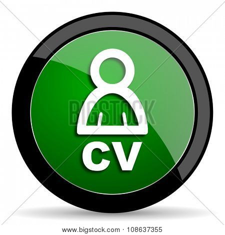 cv green web glossy circle icon on white background
