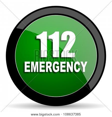 number emergency 112 green web glossy circle icon on white background