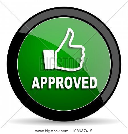 approved green web glossy circle icon on white background