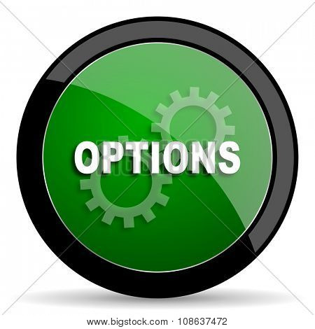 options green web glossy circle icon on white background