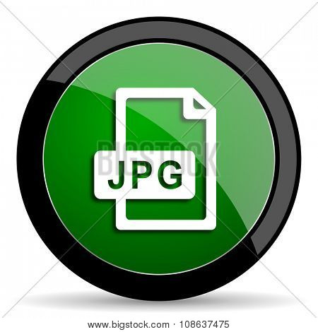 jpg file green web glossy circle icon on white background