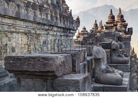 Buddha Statues At The Galleries Of Borobudur  Temple