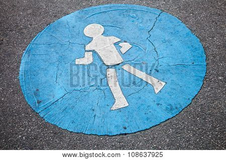 Pedestrian Lane Road Marking, Over Rough Asphalt