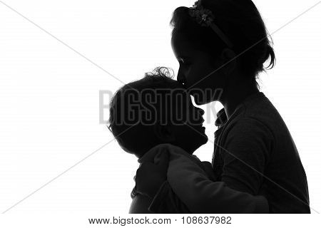 Baby Boy And Girl Silhouette Over White Background.