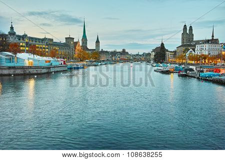 Panoramic view of Zurich and Limmat River
