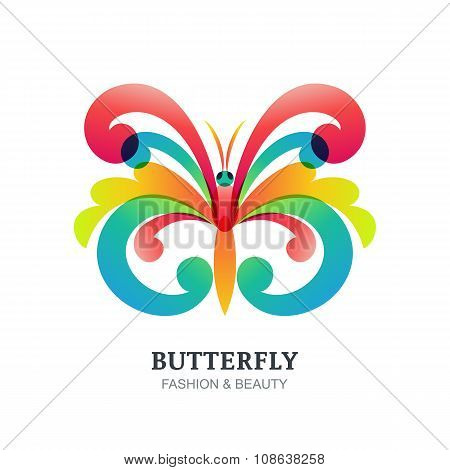 Vector Illustration Of Colorful Decorative Butterfly.