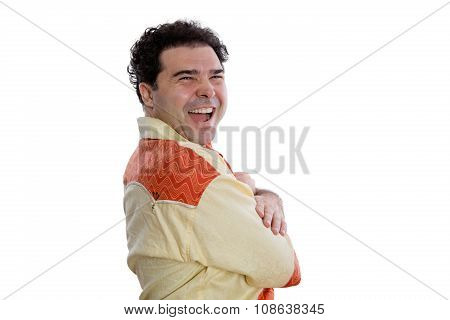 Cheerful Man In African Shirt Looking At Camera