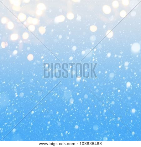Art Falling Snow On The Blue Background