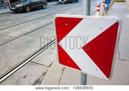 Dangerous Turn, Red And White Roadsign