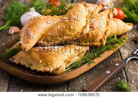 Fresh Baked  Pasties Filled With Meat And Vegetable