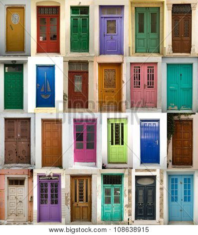 A collage of coloured greek doors