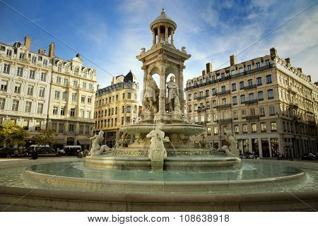 Fountain at Jacobin's place in Lyon, France