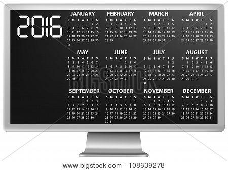 2016 Calendar Monitor
