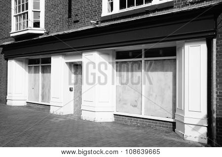 Closed down retail shop