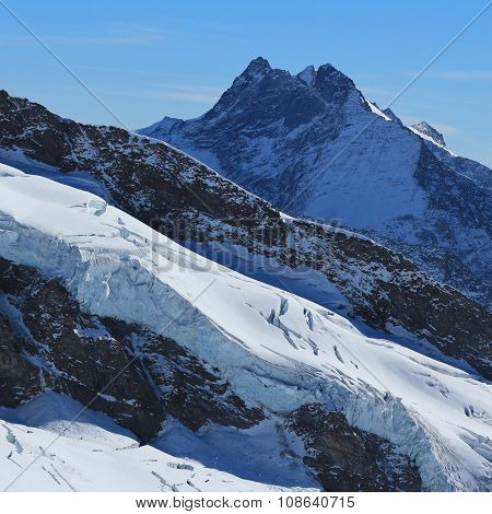 High Mountain And Glacier, View From The Jungfraujoch Viewpoint