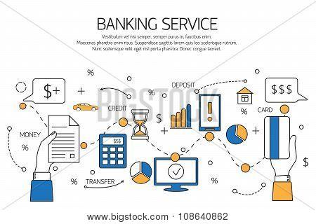 Banking service outline concept,  deposit, credit, money transfer.