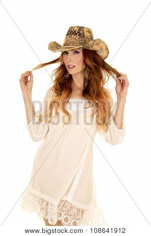 Cowgirl In White Short Dress And Red Hair Looking