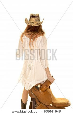 Red Head Cowgirl Hold Saddle Back