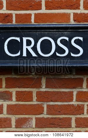 Vintage Grunge Brick Wall Cross Word Sign