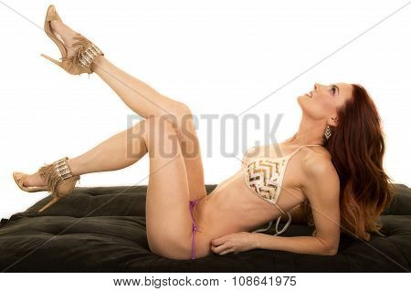 Red Head Woman In Bikini Lay Leg Up Look Up
