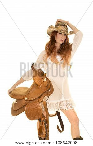 Red Head Cowgirl Hold Saddle Look