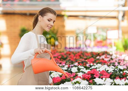 Pleasant florist watering flowers