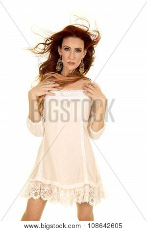 Red Head Woman In White Short Dress Hands On Shoulders