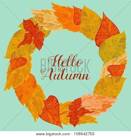 Wreath of autunm foliage in bright colors