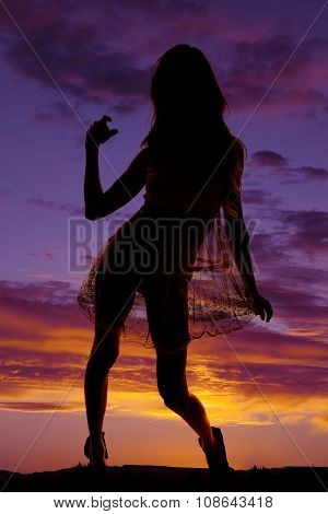 Silhouette Woman In Sheer Dress Hold Skirt