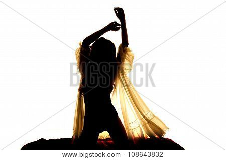 Silhouette Woman In Sheer Nightgown Hands Up Kneel