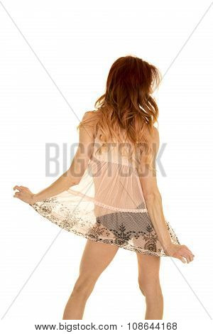 Woman In Sheet Top Back Skirt Out