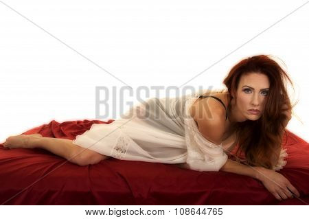 Woman Red Hair Nightgown On Red Sheet Look