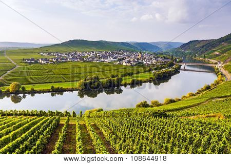 famous Moselle Sinuosity in Trittenheim germany under cloudy sky