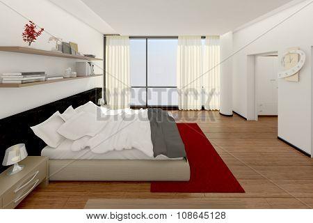 3D Interior Rendering Of A Modern Bedroom