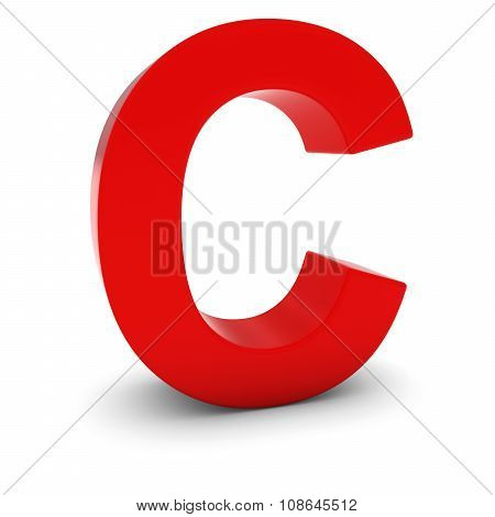 Red 3D Uppercase Letter C Isolated On White With Shadows