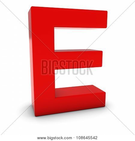 Red 3D Uppercase Letter E Isolated On White With Shadows