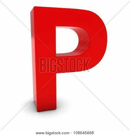 Red 3D Uppercase Letter P Isolated On White With Shadows