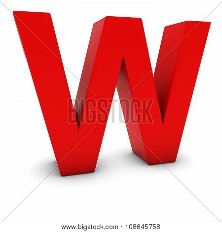 Red 3D Uppercase Letter W Isolated On White With Shadows